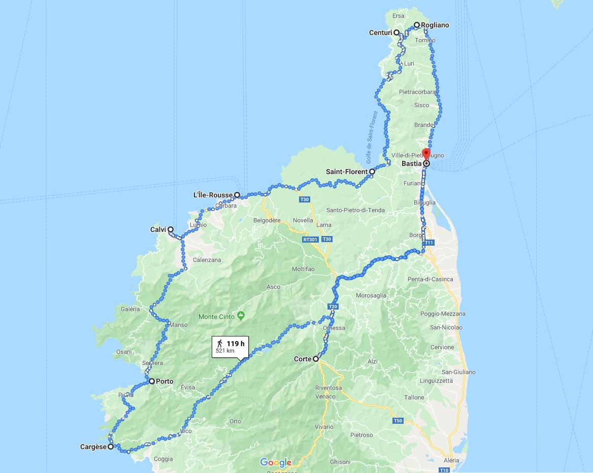 Map that shows where Micheal went on his trip to Corsica