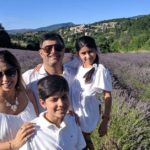 Seeonie and her family in front of a lavender field: Family Vacation in Provence and the French Alps