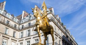 Golden statue of Joan of Arc on a horse: Searching for Joan of Arc in rural France episode