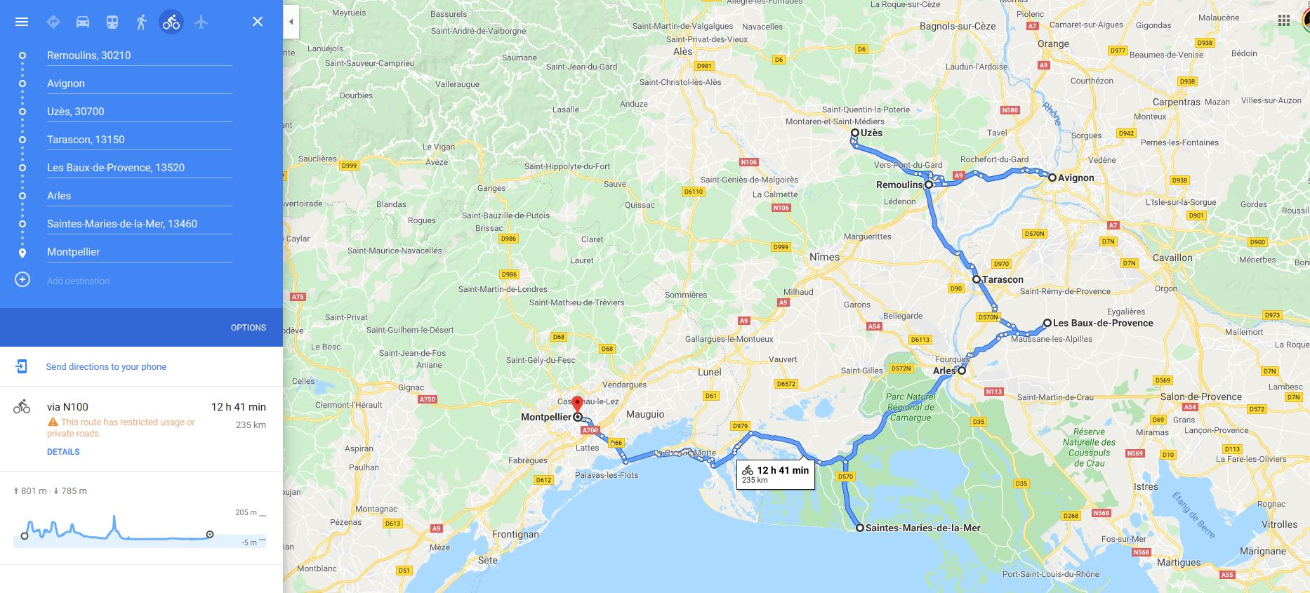 Provence cycling tour map