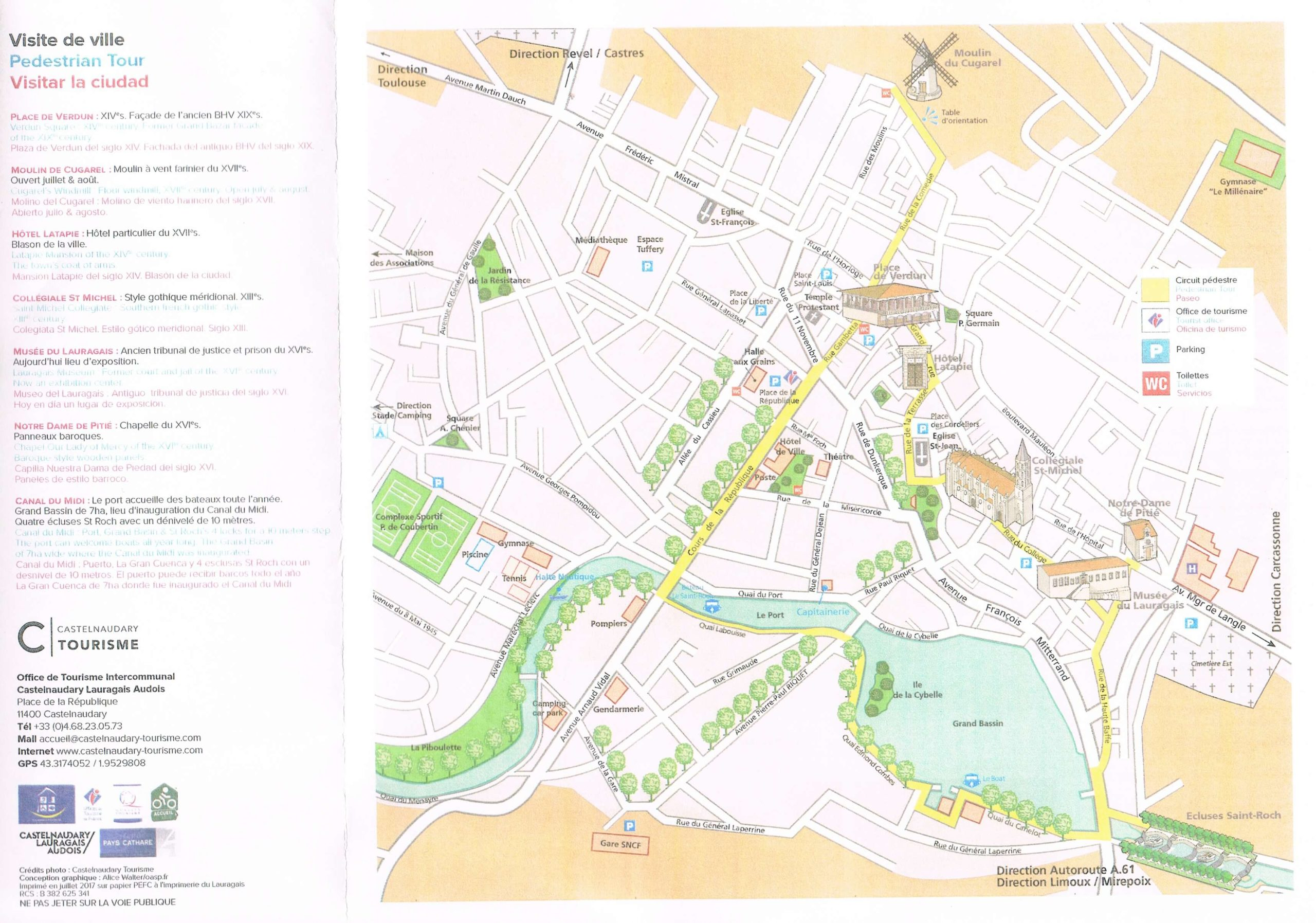 Castelnaudary Map and walking tour from the Tourist Office