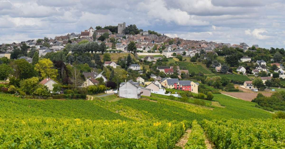 The hilltop village of Sancerre and the vineyards that surround it