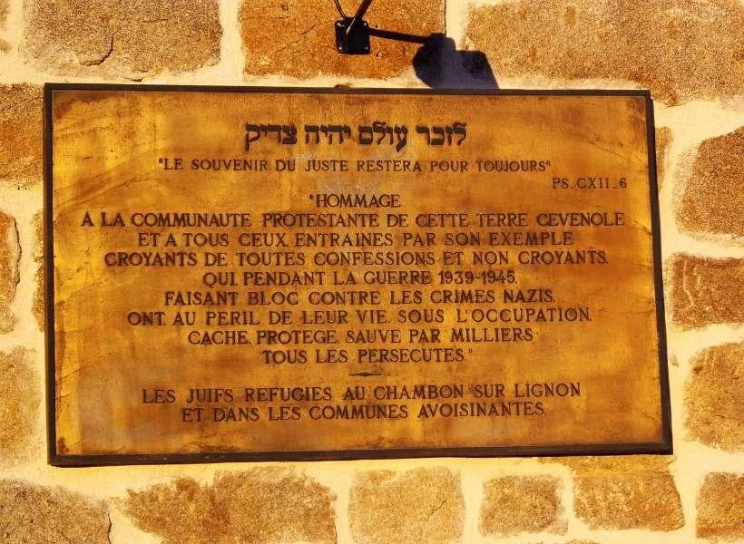 Le Chambon commemorative plaque