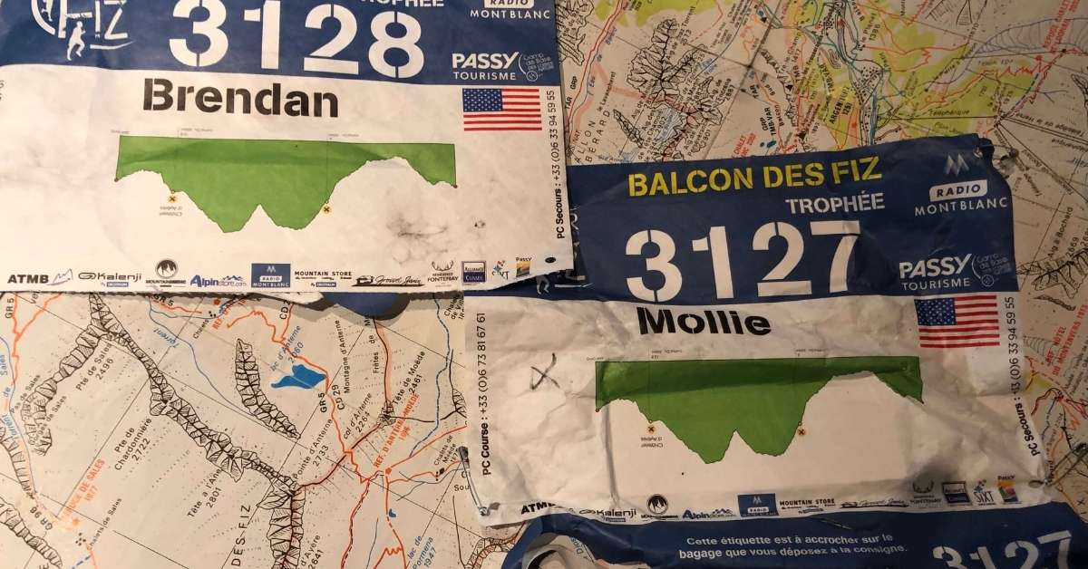 Race Bibs for Mollie and her husband: Running a trail race in the Alps episode