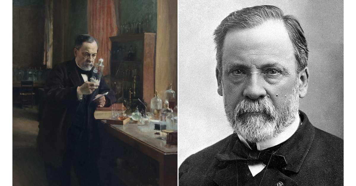 Louis Pasteur looking at a sample and portrait