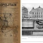 An old map of the Paris metro and an image of the opera Garnier with the metro running underneath: Inauguration of the Paris metro