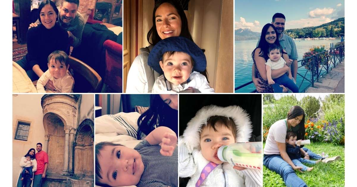 Jessica with her husband and baby: French Alps with a Baby episode