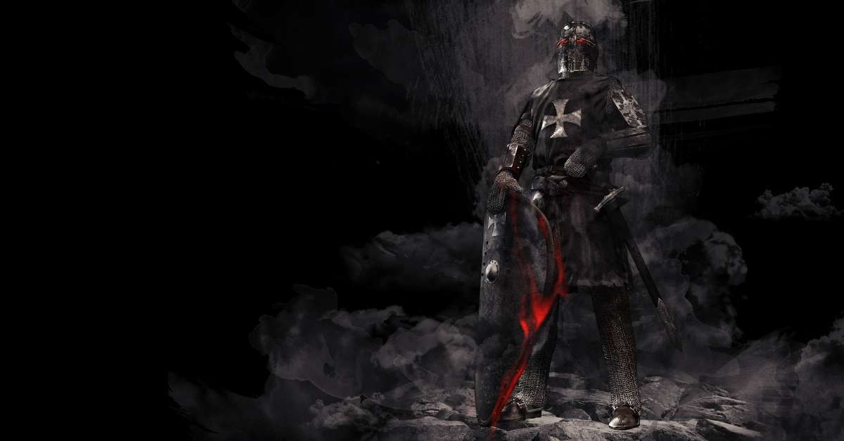 Sulpherous image of a Knight Templar standing on ashes