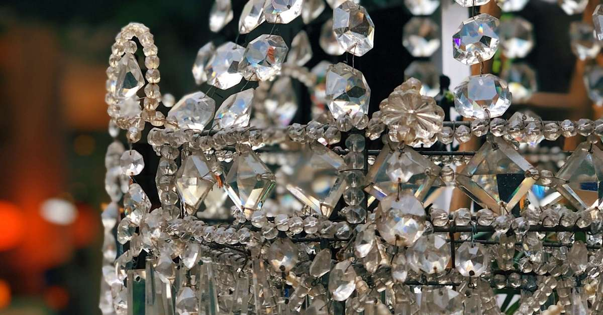 Glass chandelier at the Paris Saint-Ouen Flea Market