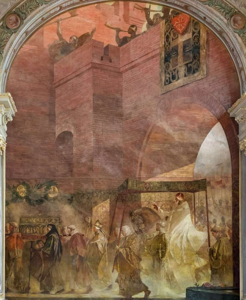 Painting that shows the pope entering the city of Toulouse