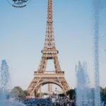 The Eiffel Tower with a water fountain in the foreground