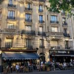 A building and cafés in the 15th arrondissement: new normal in Paris in 2021