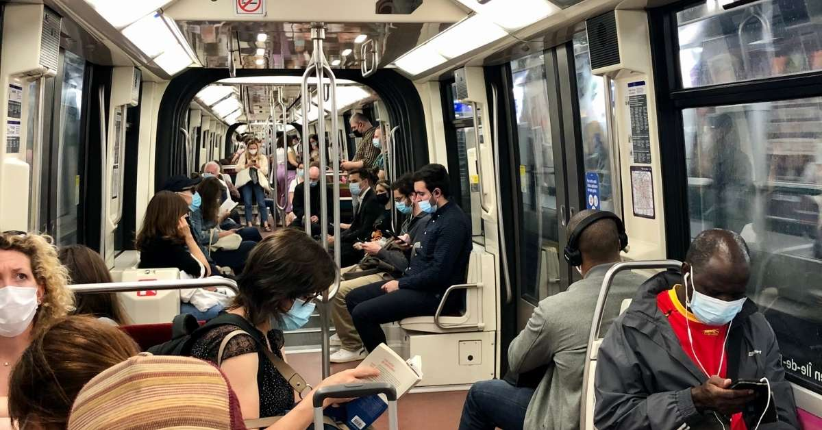 Paris metro with masks on: Travel to France in Covid Times